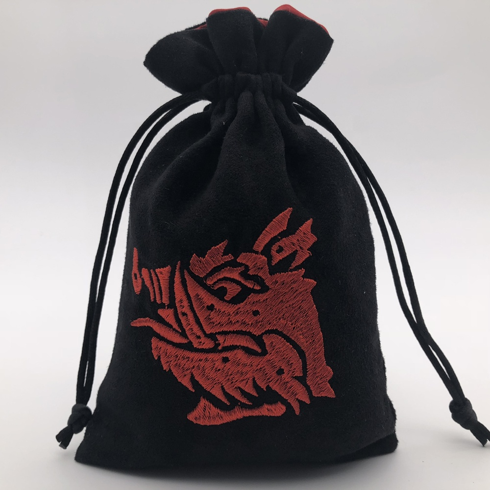 Embroidery Faux Suede Bag, Black Drawstring Dice Bag