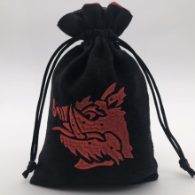 Embroidery Faux Suede <strong>Bag</strong>, Black Drawstring Dice <strong>Bag</strong>