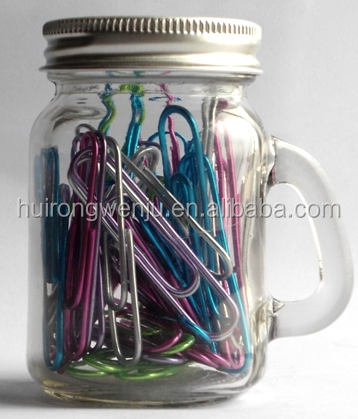 Big Basic colored paper clips, metal paper clips, mix color paper clips set with glass bottle 50mm