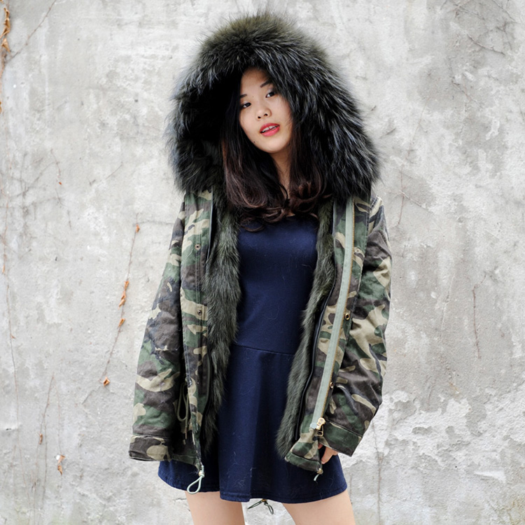 CX-G-P-05Q Fashion Collar Hood Fox Lined Real Fur Hooded Parka Coat