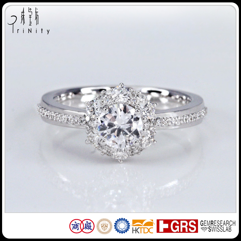 Best Choice PT900 14K 18K White Gold 1 Carat Solitaire Diamond Engagement Ring