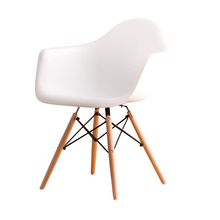 Factory Price High Quality Plastic Chair Leisure Dining Chair with Wood Legs in Restaurant