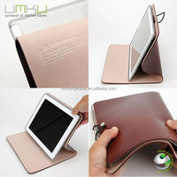 High quality flip and standing holder leather case for ipad mini with holder