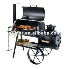 Outdoor kitchen large charcoal grill and smoker