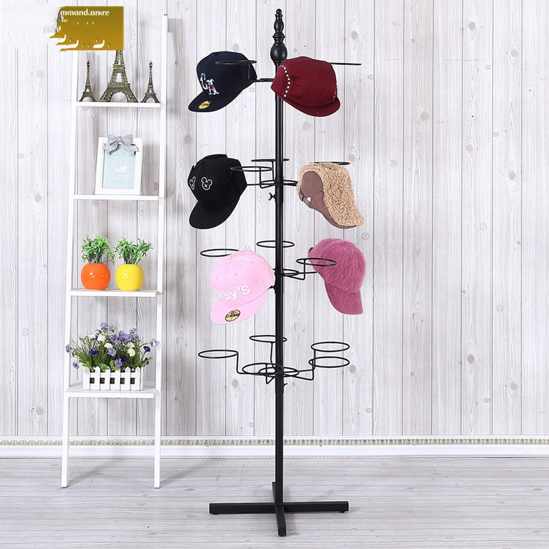 Metal Hook Hat Cap Floor Display Rack Display Stand For Retail Store