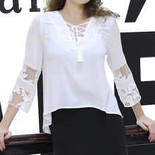 Elegant Ladies White Lace Long Sleeve Crocheted women Blouse