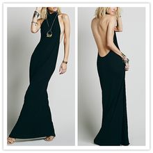 New Prodcuts Japanese style Elegant Halter Neck Floor Length Backless Chiffon long evening Dresses