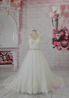 L1048 cap sleeves illusion back tulle fabric corded lace with beading belt hot sell wedding dress