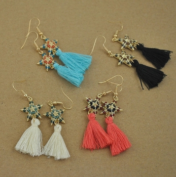 4 Colors Star Tassel Earrings