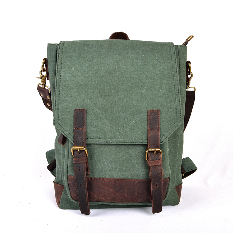 Wholesale vintage retro style 16oz canvas backpack attaching shoulder strap composed genuine leather trim