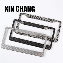 Factory outlet metal 4 holes Diamond-encrusted license plate frame