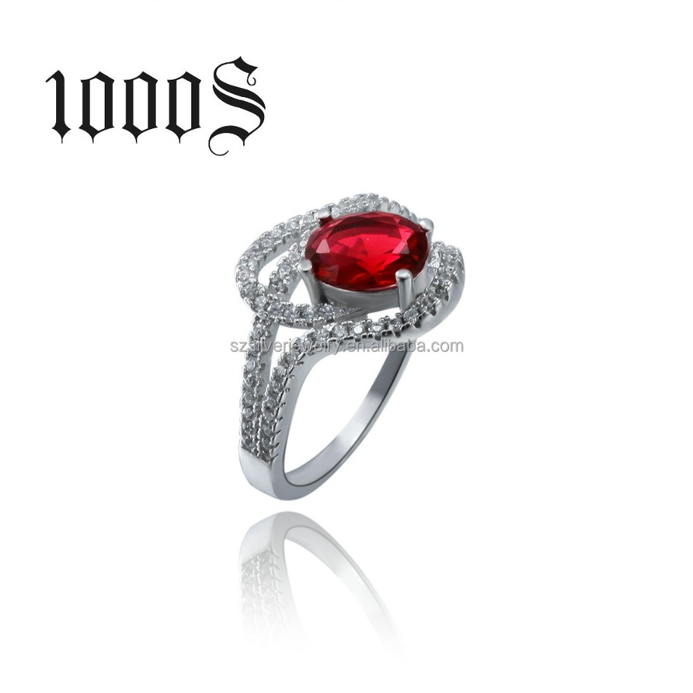 express cheap wholesale ring , 925 sterling silver with rhodium plated , red & blue main stone