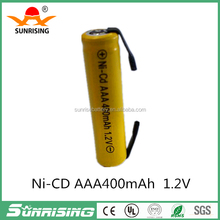 Yellow color AAA ni-cd rechargeable battery with sheet 400mAH