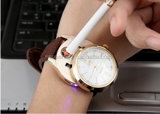 2 In 1 Rechargeable USB Watch Lighter Electronic Cigarette Lighter USB Charge Flameless Cigar Wrist Watches