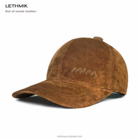 Unisex Plain Suede Leather 6 Panel Baseball Cap For Driving