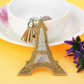 AP10181 fashion leather tassel keychain crystal rhinestone paris tour eiffel tower keychain