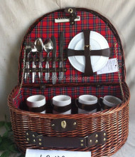 willow picnic basket with knife\folk\and spoon wicker picnic basket with lid and handle