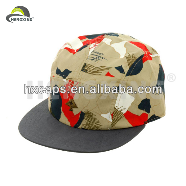 Wholesale Blank 5 Panel Snapback Hats Flat Brim With Leather Back Closure