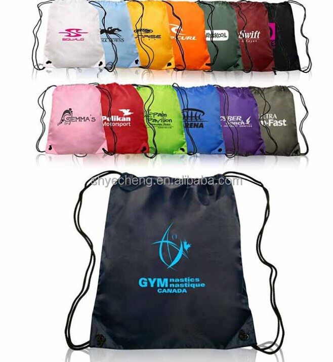 recyclable promotion 420D colorful polyester drawstring schoolbag factory