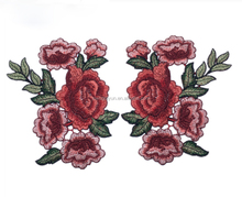 2pcs/Set Rose Flower Embroidery Patches Sticker for Clothes Parches Para La Ropa Applique Embroidery RoseFlower Patches