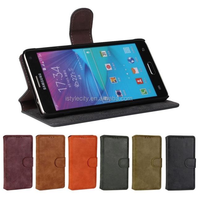 Matt PU Leather Case Flip Cover for Galaxy Note4