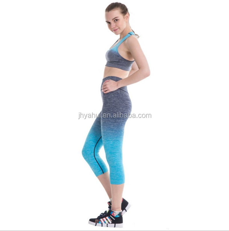 Ladies seamless top and legging tightly sexy fitness yoga wear set