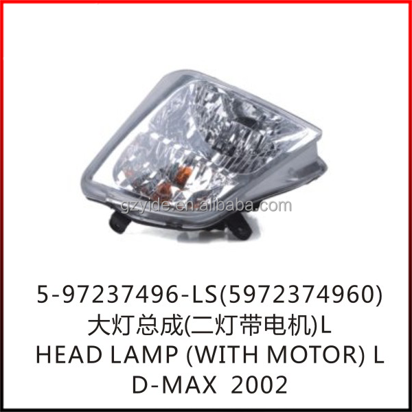D-MAX HEAD LAMP(WITH MOTOR)L/OE: 5-97237496-LS(8972374960)