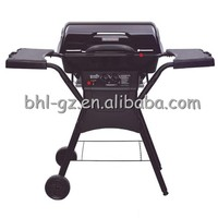 2 burner gas bbq movable stainless outdoor cooking grill station porcelain enamel coated gas barbecue trolley portable bbq grill