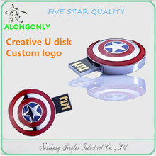 Creativity U disk mini Captain America shield model cool flash disk,Memory storage tool can Custom logo