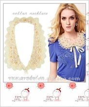 Ladies Fashion Series pearl crystal lace collar necklace fake collar