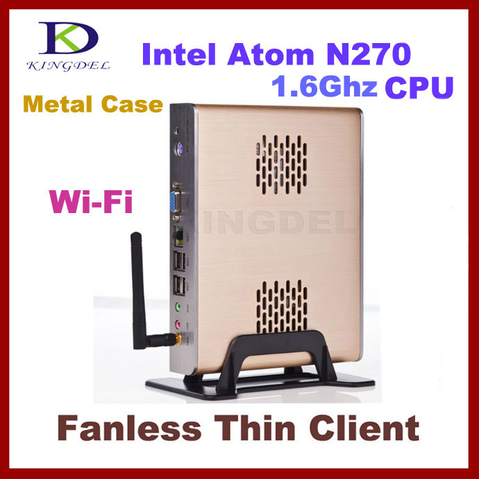 NEW Fanless stand alone Thin Client Computer, Mini PC with Intel Atom N270 1.60Ghz, 1GB RAM, 8GB SSD, 32 Bit, WiFi, 720P HD