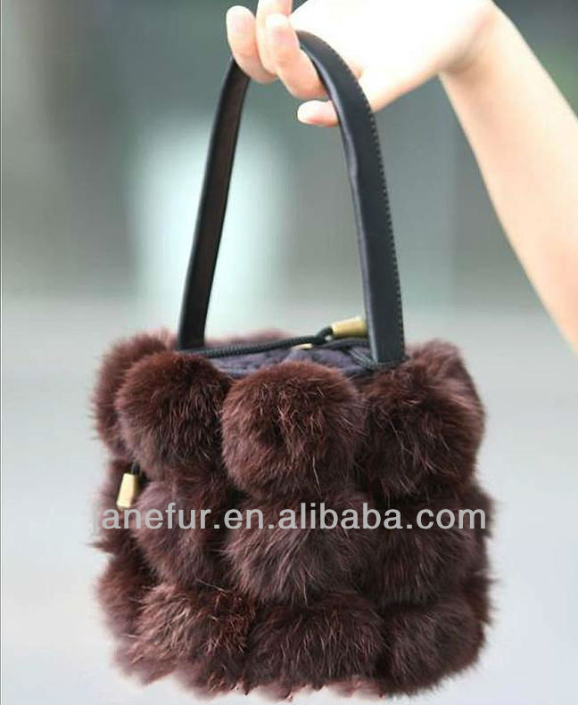 2017 New Collection Flower Basket Shape Rabbit Fur Bag/Wholesale And Retail/Fast Shipping