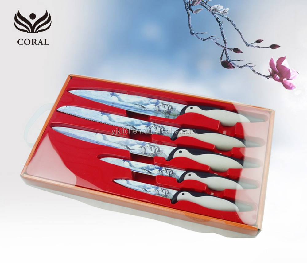 High quality 5pcs royalty line non-stick coating color kitchen knife set