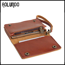 High Quality Handmade Mens Multi-used Genuine Leather Cell Phone Wallet