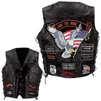 Genuine leather biker vest for men biker vest men with embroidery patches