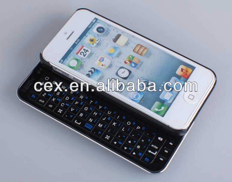 Sliding Wireless Bluetooth Keyboard Hard Shell Back Case Cover for iphone5 5G - white