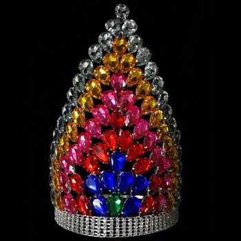 12'' Height Big Rainbow Color Pageant Crown for sale