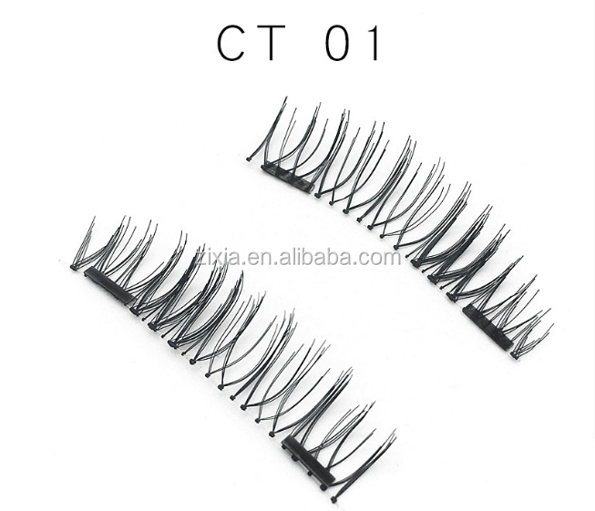 Private label magnetic box eyelash 3D double magnet false eyelash can be used for repeated false magnet lashes