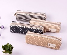 Korea style cotton color matching pen bag promotional cotton pen bag/pencil bag with zipper