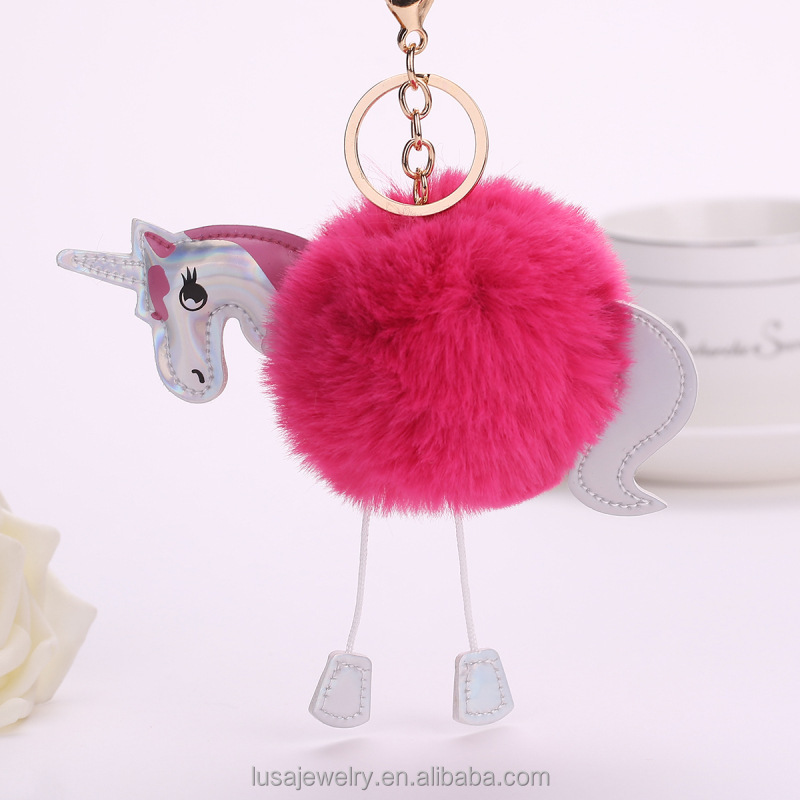 2017 Hot selling leather unicorn design faux rabbit hair pom pom keychain for women bag decoration KEL0240