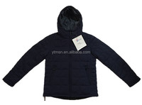 Navy hooded irregular winter thick jacket for unisex