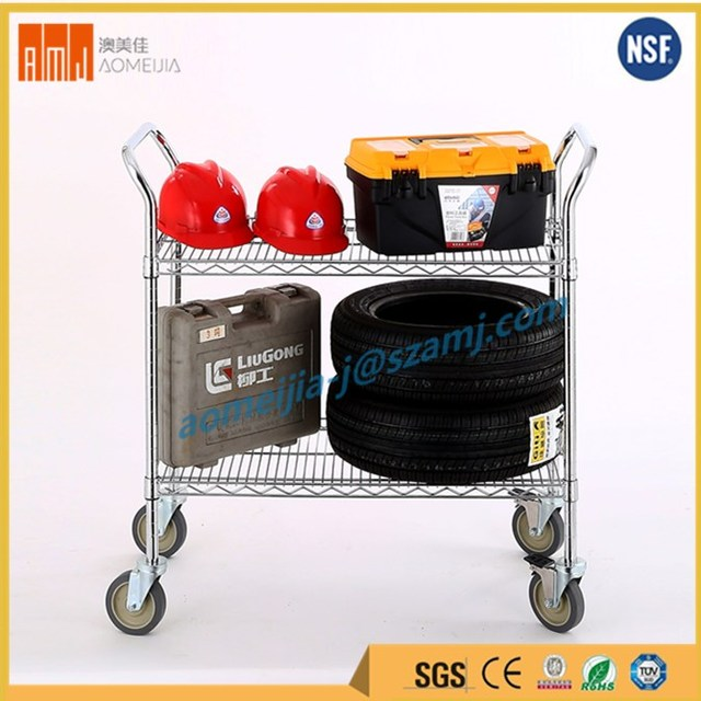 Heavy duty 2 layer wire mesh chrome powder coated industrial wire trolley