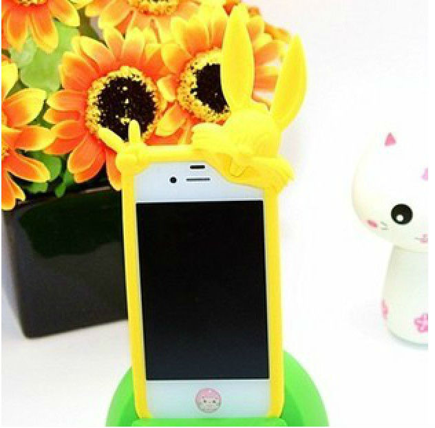 Yellow rabbit mobile phone case for iphone 4 /4s,high quality cure shape phone covers
