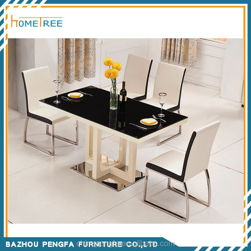 modern glass top wooden base dining table