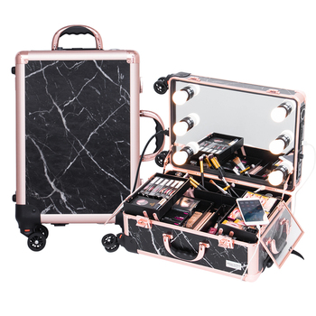 2019 cosmetic  aluminium  travel marble  beauty case rose gold make up set for girls