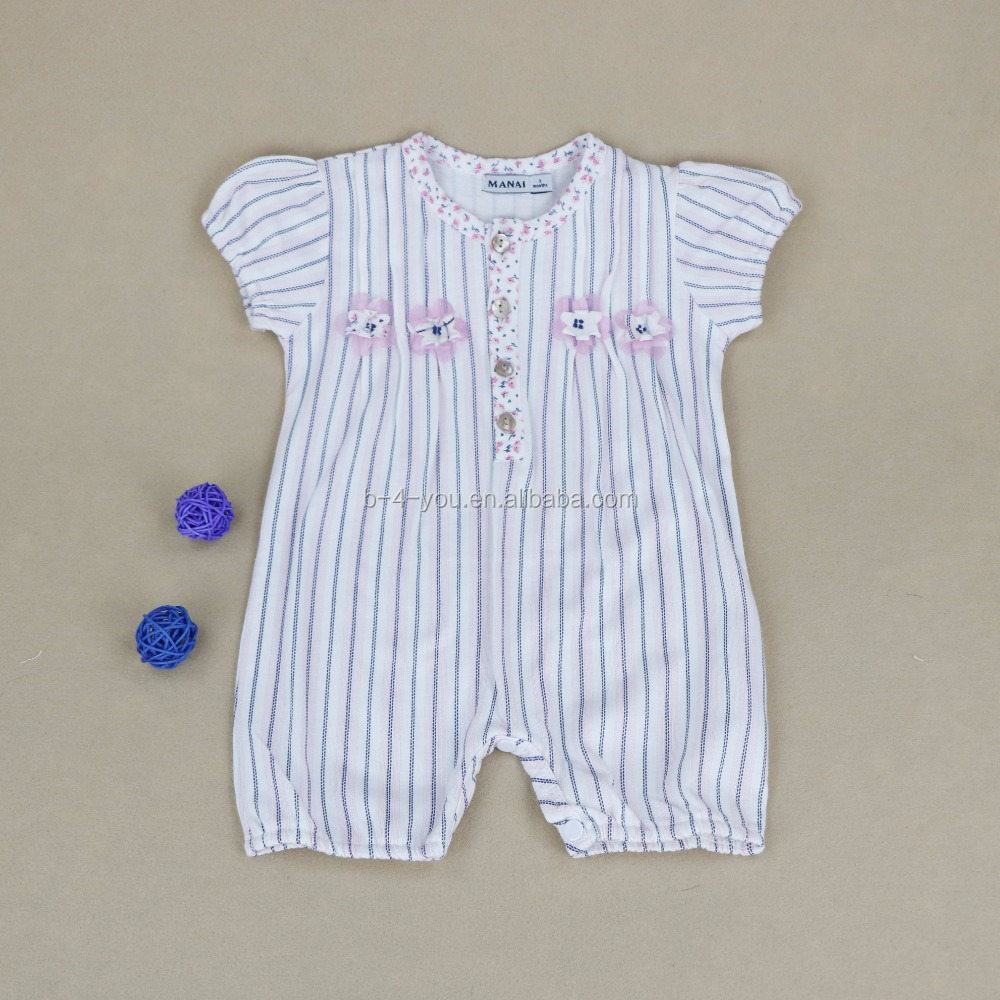 cheap solid color soft short sleeve stripe zip footed one-piece sleep baby clothes jumpsuit romper for casual dress