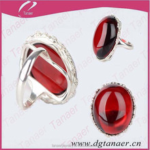 Silver the Baltic sea wine red color nature amber stone ring