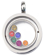 Fun Design spinning stainless steel pendant with six rainbow cz gems