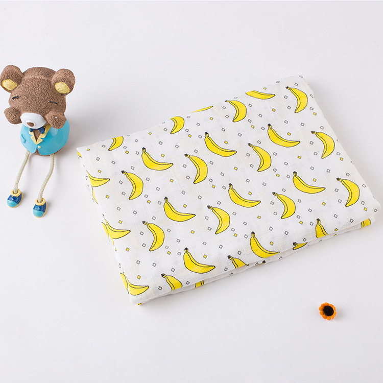 Customized baby muslin wraps comfortable baby swaddle blanket with banana printed