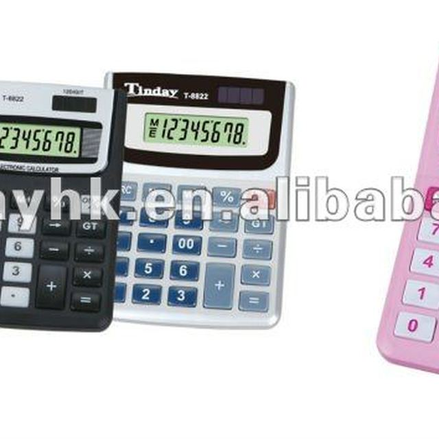 12 digits desk-top pink calculator
